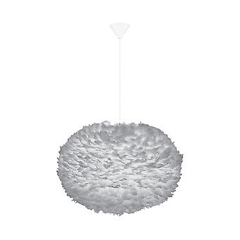 Umage Eos Feather Pendant Shade - Light Grey - XL - 75cm With Black Rosette Cord Set