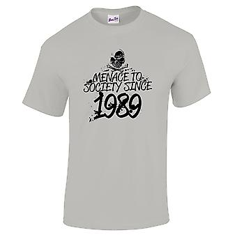 Men's 30th Birthday T-Shirt Menace Since 1989 Prezenty dla niego