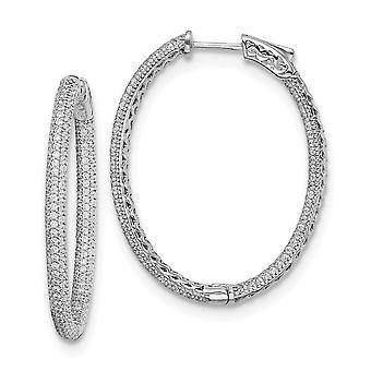925 Sterling Silver Pave Polished Hinged hoop Safety clasp Rhodium plated Rhodium Plated With CZ Cubic Zirconia Simulate