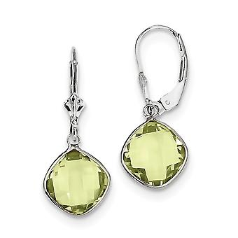 925 Sterling Silver Polished Leverback Rhodium plated Peridot Dangle Lever Back Earrings Jewelry Gifts for Women