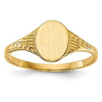 14k Gelb Gold Oval für Jungen oder Mädchen Siegelring - 1,3 Gramm