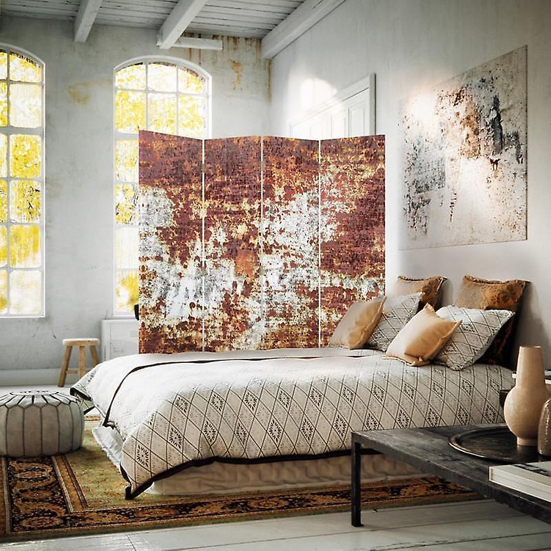 Diviseur de chambre, 4 panneaux, toile, métal rouillé 2