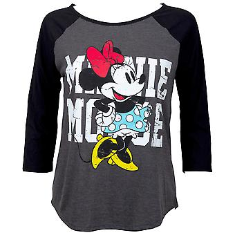 Minnie mouse mulheres ' s cinza baseball T-shirt