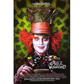ALICE IN WONDERLAND  - THE MAD HATTER poster RARE double sided ADVANCE US ONE SHEET (2010) ORIGINAL CINEMA POSTER