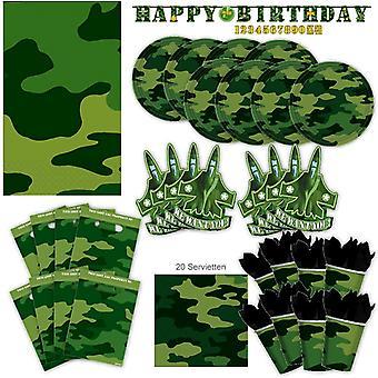 מפלגת ההסוואה הצבאית הגדר XL 63-piece עבור 8 אורחים החיילים נאט ו חבילת מסיבת קישוט