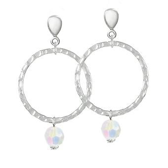 Eternal Collection Infinito Silver And AB Crystal Silver Tone Screw Back Clip On Earrings