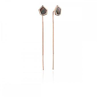 Fiorelli Silver Revised Black Rose Gold Asymetric Studs Earrings E5479B