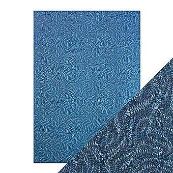 Tonic Studios Craft Perfect A4 Luxury Embossed Card, Denim Ripple