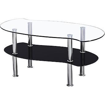 Masa de cafea Colby - Sticlă transparentă/neagră/argint