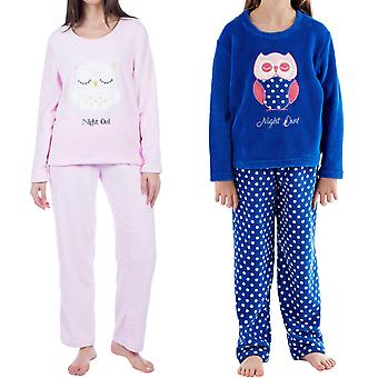 Selena Girl Kids Owl Fleece Long Sleeve Soft Nightwear Top Bottom Pyjama Set