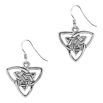 Celtic Double Holy Trinity Knot Pair Of Earrings Drop Style