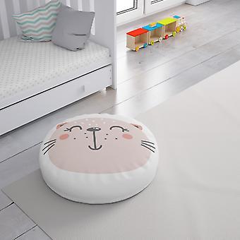 Meesoz Floor Cushion - Smiling Pink Cat