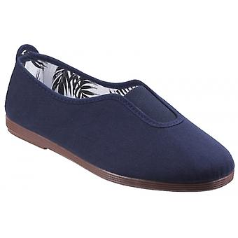 Flossy Califa Ladies Canvas Slip On Plimsolls Navy