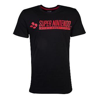 Nintendo SNES logo T-skjorte mannlig liten svart (TS411506NTN-S)