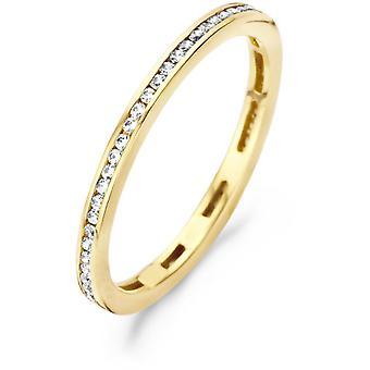 Ring Blush 11389YZI - Yellow gold ring 2 mm and zirconium oxides serti grains Women