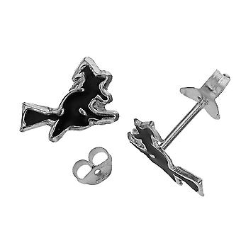 Die Olivia Collection Sterling Silver Witch On A Broomstick Stud Girls Earring