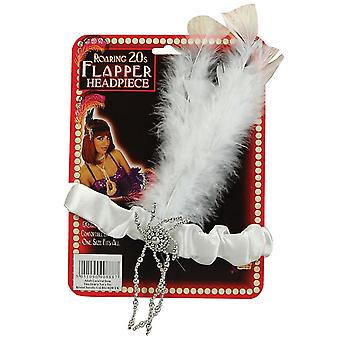 Bristol Novelty Flapper Headpiece White Feathers