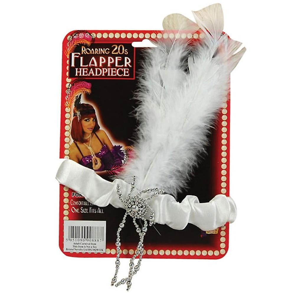 Bristol Novelty Flapper Headpiece White Feathers