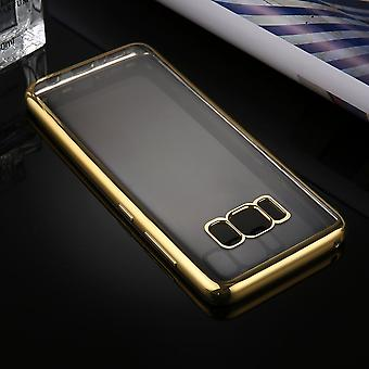 Pour Samsung Galaxy S8 Case,Transparent Electroplating Protective Cover,Gold