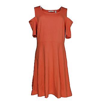 Isaac Mizrahi Live! Dress Cold Shoulder Ponte Fit Orange A289616