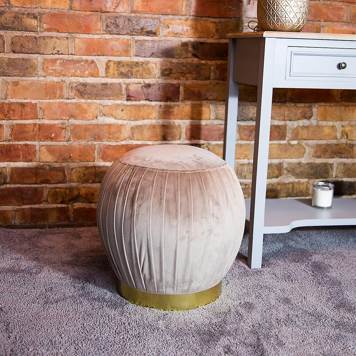 Charles Bentley Round Pleated Velvet Footrest/Footstool/Pouffe/Dressing Table Stool with Gold Base Taupe