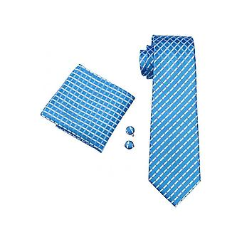 JSS Mens Baby Blue Check 100% Silk Pocket Square, Cufflink And Tie Set