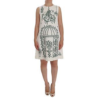 Dolce & Gabbana Branco Jacquard Verde Vestido de Impressão da Sicília