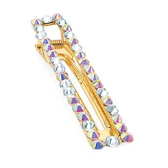 8cm Gold Colour Rectangle Design Crystal & Ab Crystal Beak Clip
