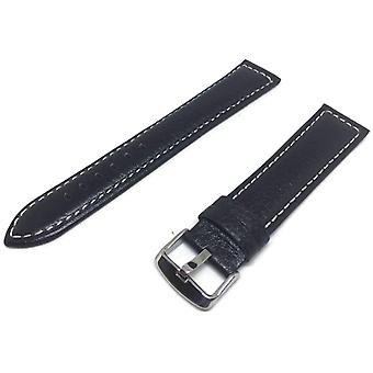 Calf leather watch strap extra long  black padded and white stitched sizes 18mm to 24mm