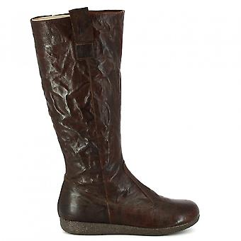 Leonardo Shoes Women's handmade knee high boots in dark brown leather side zip