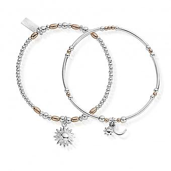 ChloBo Silber & Rose Gold Dämmerung bis morgenDämmerung Set von 2 Armbändern