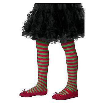 Piger grøn & rød stribede strømpebukser jul Elf Fancy kjole tilbehør