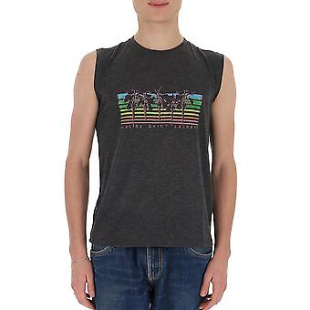 Saint Laurent 605243ybps21478 Men's Grey Cotton T-shirt
