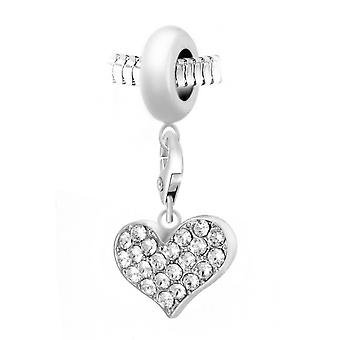 Charm Pearl Heart orn of Swarovski Crystals door SC Crystal Paris BEA0044-CH0057-zilver