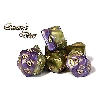 Halfsies Dice - Queen's Dice Polyhedral (Poly 7 Set)