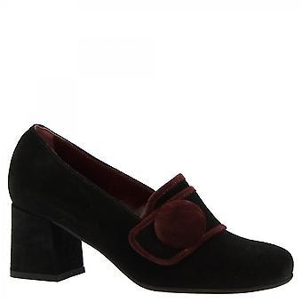 Leonardo Shoes Mulheres's saltos artesanais dedo quadrado pumps sapatos preto camurça couro