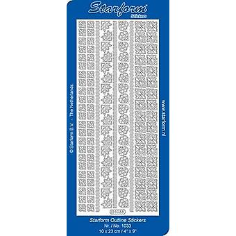 Starform Stickers Borders / Corners 2 (10 Sheets) - Silver - 1033.002 - 10X23CM
