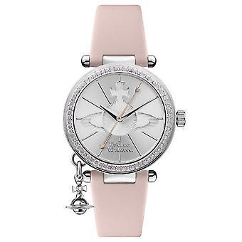 Vivienne Westwood Orb Quartz Silver Dial Pink Leather Strap Ladies Watch VV006SLPK