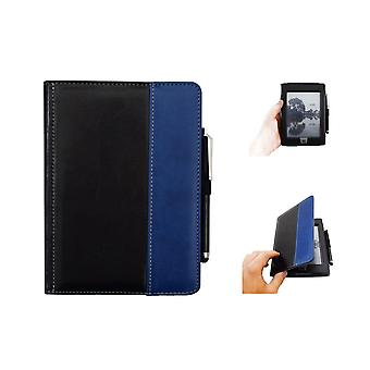 Kindle Touch case with Stylus pen - PU leather - black/blue