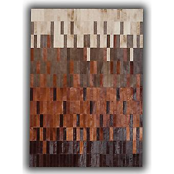 Rugs -Patchwork Leather Strips Cowhide - Degradada Tan
