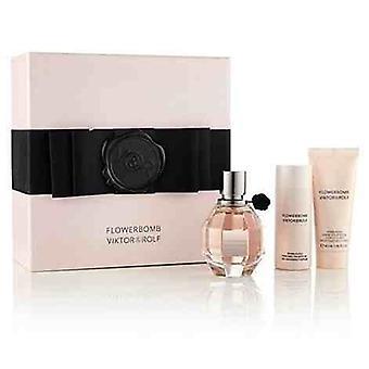 Viktor & Rolf FlowerBomb Gift Set 50ml EDP + 40ml Body Cream + 50ml Shower Gel