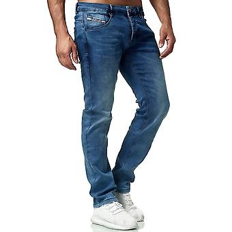 Mens Denim Jeans Classic Regular Fit Pants Used Washed Look Normal Trousers