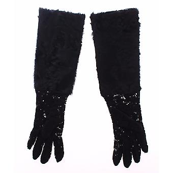 Dolce & Gabbana Black Lace Wool Lambskin Fur Elbow Gloves MOM11451-3