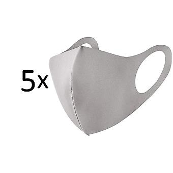 5 Pack Face Mouth Mask, Washable Reusable Anti Dust Mask, Beige / Light Grey