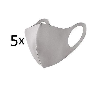 5 Máscara facial facial de pacote, máscara anti poeira reutilizável lavável, bege / cinza claro