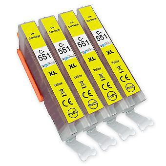 4 cartouches d'encre jaune pour remplacer Canon CLI-551Y Compatible/non-OEM de Go Inks