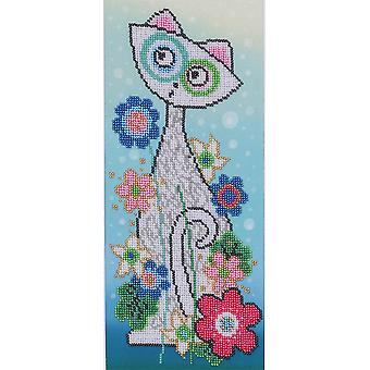 VDV Bead Embroidery Kit - White Cat and Flowers