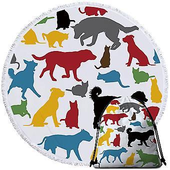 متعدد الملونة الكلاب الظلية منشفة الشاطئ