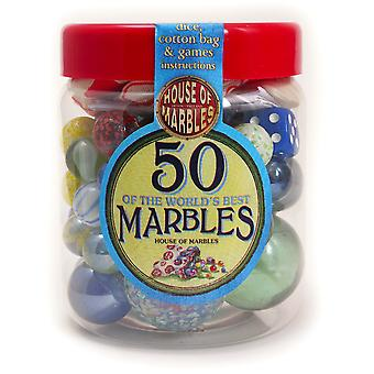 50 of the Worlds Best Marbles with Jar & Bag
