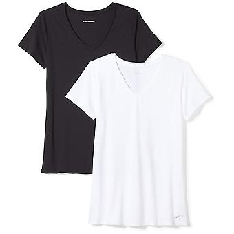 Essentials Women's 2-Pack Tech Stretch Lyhythihainen V-pääntie T-paita, Musta/Valkoinen, Suuri